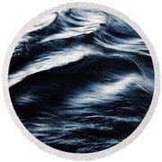 Abstract Dark Blurred Ripples Round Beach Towel