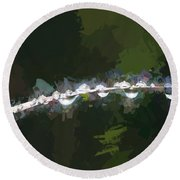 Abstract Dew On Reed Round Beach Towel
