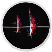 Abstract Digital Boats Round Beach Towel