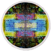 Abstract Digital Shapes Colourful Stained Glass Texture Round Beach Towel