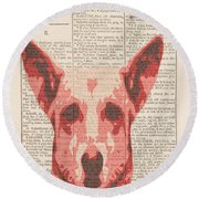 Abstract Dog On Dictionary Round Beach Towel