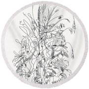 Abstract Drawing Fifty-nine Round Beach Towel