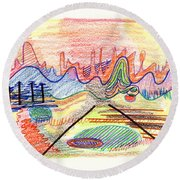 Abstract Drawing Five Round Beach Towel