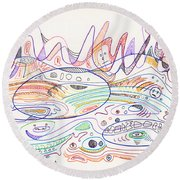Abstract Drawing Nineteen Round Beach Towel