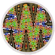 Abstract Drawing Panel Round Beach Towel