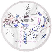 Abstract Drawing Sixty-four Round Beach Towel