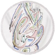 Abstract Drawing Sixty Round Beach Towel