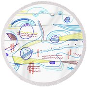 Abstract Drawing Sixty-three Round Beach Towel