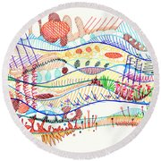 Abstract Drawing Three Round Beach Towel