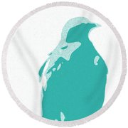 Abstract Eagle Contours Cyan Round Beach Towel