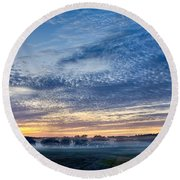 Abstract Early Morning Sunrise Over Farm Land Round Beach Towel