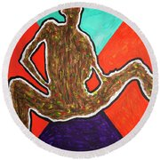 Abstract Ebony Nude Sitting Round Beach Towel