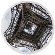Abstract Eiffel Tower Looking Up 2 Round Beach Towel