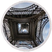 Abstract Eiffel Tower Looking Up Round Beach Towel