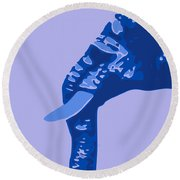 Abstract Elephant Doll Blue Round Beach Towel