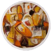 Abstract Expressionism Three Round Beach Towel