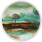 Abstract Fantasy Landscape Round Beach Towel