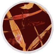 Abstract Feathers Falling On Brown Background Round Beach Towel