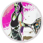 Abstract Female Tennis Player Round Beach Towel