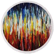 Abstract Fire And Ice Round Beach Towel