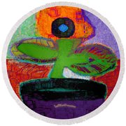 Abstract Floral Art 114 Round Beach Towel