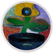 Abstract Floral Art 115 Round Beach Towel
