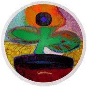 Abstract Floral Art 116 Round Beach Towel