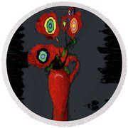 Abstract Floral Art 91 Round Beach Towel