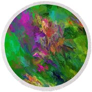 Abstract Floral Fantasy 071912 Round Beach Towel