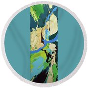 Abstract Flow Green-blue Series No.2 Round Beach Towel