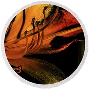 Abstract Flower Golden Red Round Beach Towel