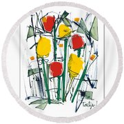 Abstract Flower Sixteen Round Beach Towel