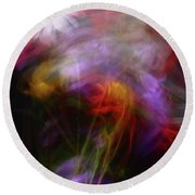 Abstract Flowers One Round Beach Towel