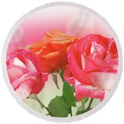 Abstract Flowers Spring Background Round Beach Towel