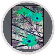Abstract Flowrs In Green And Blue Round Beach Towel
