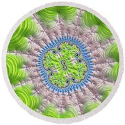 Abstract Fractal Art Greenery Rose Quartz Serenity Round Beach Towel