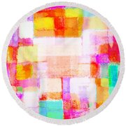 Abstract Geometric Colorful Pattern Round Beach Towel