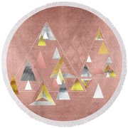 Abstract Geometric Triangles, Gold, Silver Rose Gold Round Beach Towel
