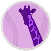 Abstract Giraffe Contours Purple Round Beach Towel