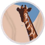 Abstract Giraffe Round Beach Towel