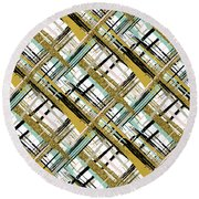 Abstract Gold Lines Round Beach Towel