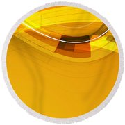 Abstract Golden Arcs And Lines Round Beach Towel