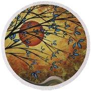 Abstract Golden Landscape Art Original Painting Peaceful Awakening I Diptych Set By Megan Duncanson Round Beach Towel