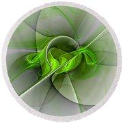 Abstract Green Fractal Art Round Beach Towel