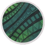 Abstract Green Round Beach Towel