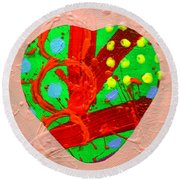 Abstract Heart 40218 Round Beach Towel