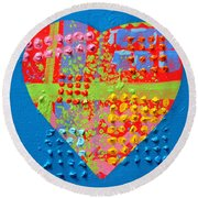 Abstract Heart 50218 Round Beach Towel