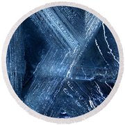 Abstract Ice. Darkness Round Beach Towel