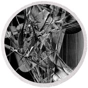 Abstract In Black And White 2 Round Beach Towel