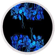 Abstract In Blue 2 Round Beach Towel